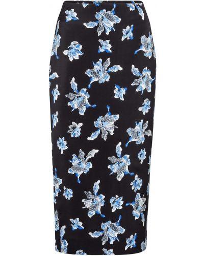 Шелковая синяя юбка карандаш стрейч Diane Von Furstenberg