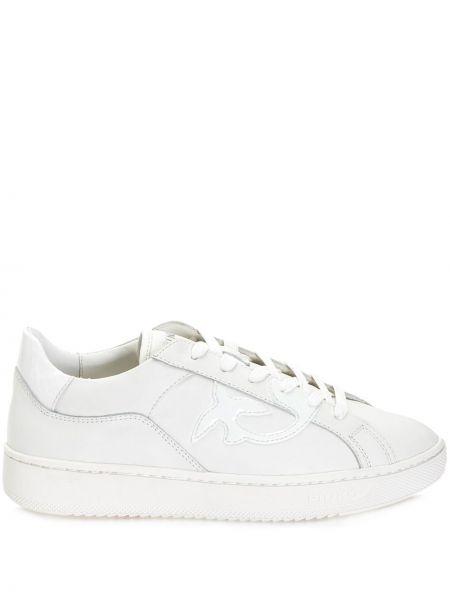 Кожаные белые кроссовки на шнуровке Pinko
