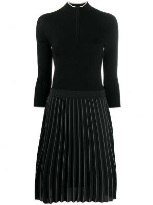 Трикотажное черное платье миди с поясом Karl Lagerfeld