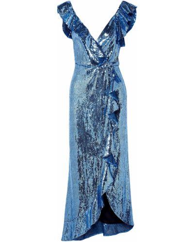 Платье миди с пайетками - синее Monique Lhuillier