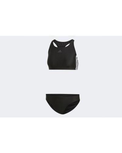 Czarny strój kąpielowy w paski Adidas