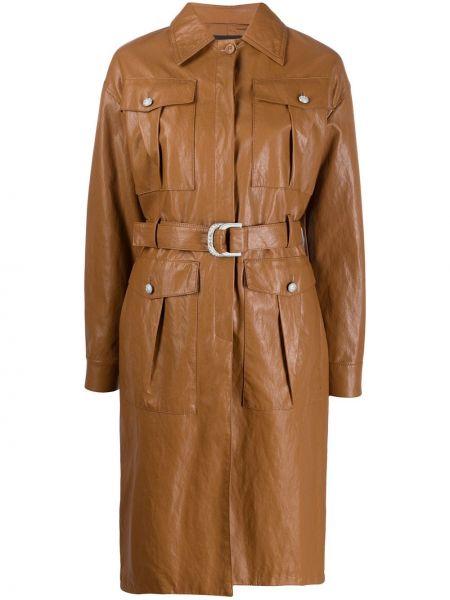 Klasyczny brązowy płaszcz skórzany Pinko