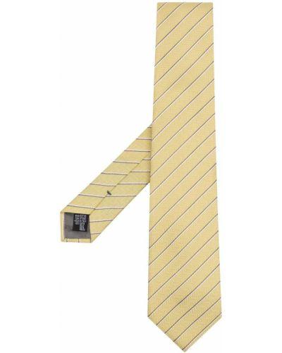 Żółty krawat w paski z jedwabiu Emporio Armani