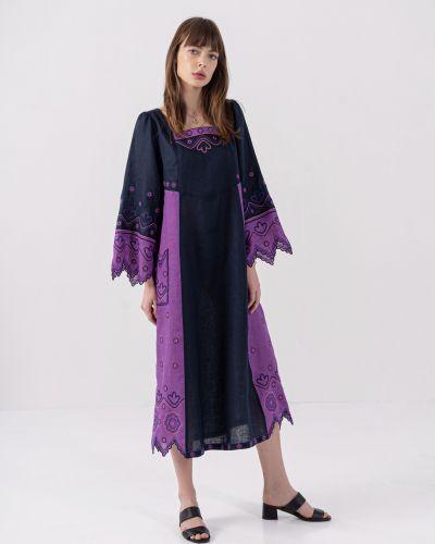 Этническое фиолетовое платье оверсайз Etnodim