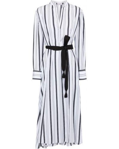 Хлопковое белое платье в полоску Brunello Cucinelli