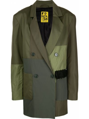 Зеленый удлиненный пиджак двубортный на пуговицах Marques'almeida