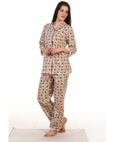Пижама с брюками на пуговицах фланелевая с карманами Грандсток