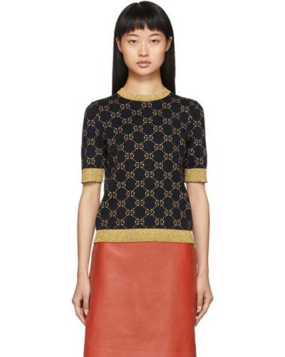 Bawełna sweter z kołnierzem złoto z mankietami Gucci