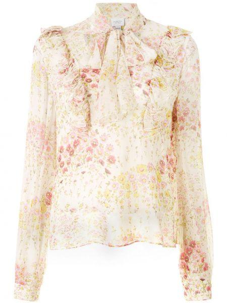 Шелковая блузка с длинным рукавом с оборками с воротником на пуговицах Giambattista Valli