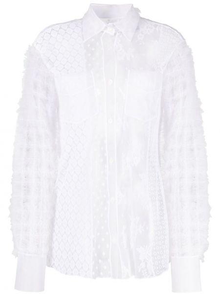 Белая классическая рубашка с воротником из вискозы Viktor & Rolf