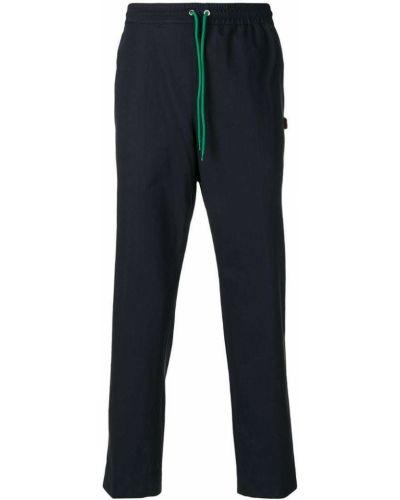 Синие хлопковые прямые брюки Kenzo