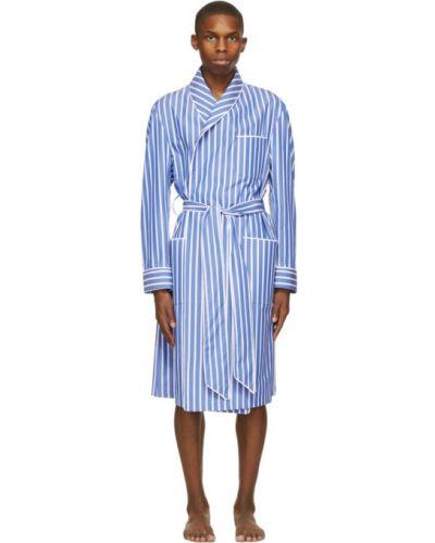 Z rękawami niebieski bawełna szlafrok Paul Stuart