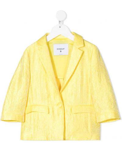 Прямая желтая длинная куртка с карманами Dondup Kids