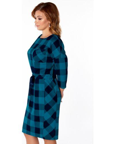 Платье с поясом в клетку из вискозы Virgi Style