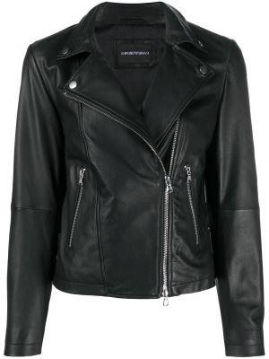 Черная длинная куртка байкерская с манжетами Emporio Armani