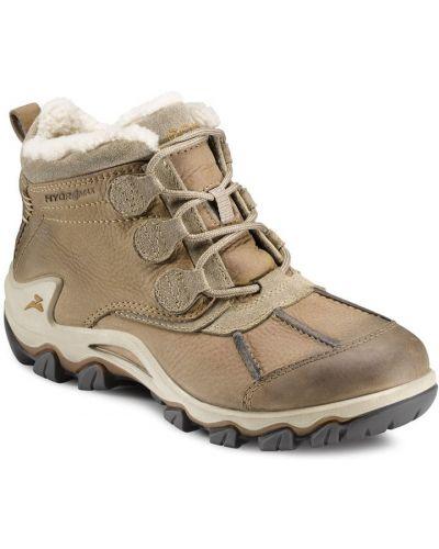 Зимние ботинки коричневые без каблука Ecco