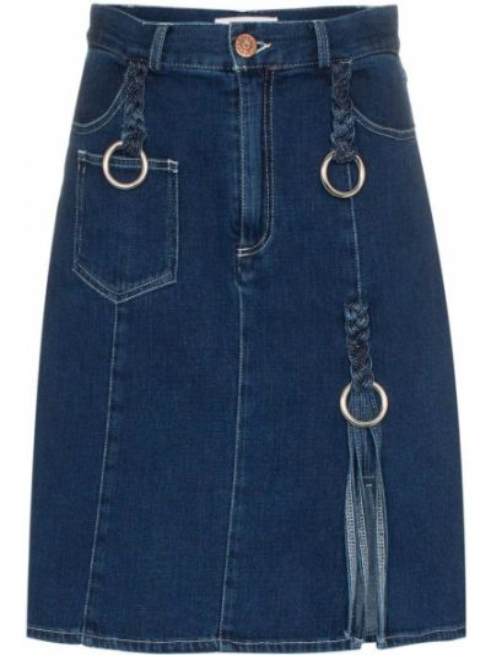 Синяя юбка миди на молнии с разрезом с карманами See By Chloé
