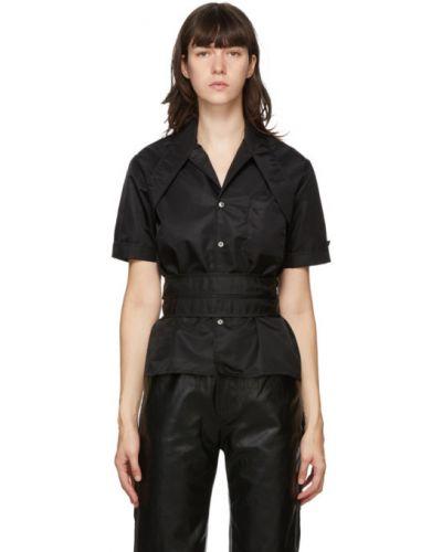 Черная рубашка с коротким рукавом с воротником с заплатками с карманами Gmbh