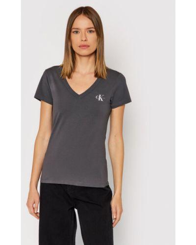 T-shirt - szara Calvin Klein Jeans