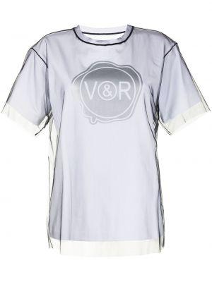 Прямая хлопковая черная футболка Viktor & Rolf