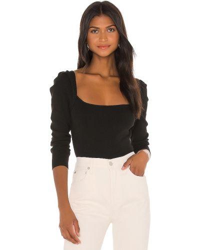 Włókienniczy czarny z rękawami sweter z dekoltem L'academie