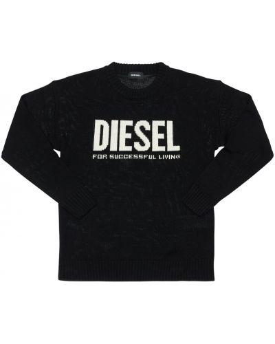 Prążkowany czarny sweter wełniany Diesel Kids