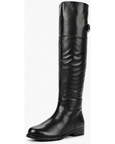 Ботфорты на каблуке кожаные черные Provocante