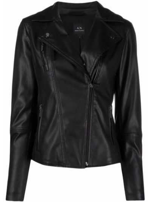 Черная кожаная куртка на молнии Armani Exchange