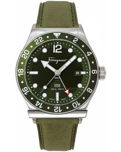 Zielony zegarek skórzany Salvatore Ferragamo