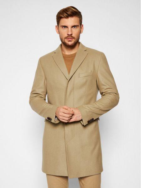 Płaszcz wełniany - brązowy Cg - Club Of Gents