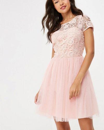 Асимметричное розовое коктейльное платье Yumi