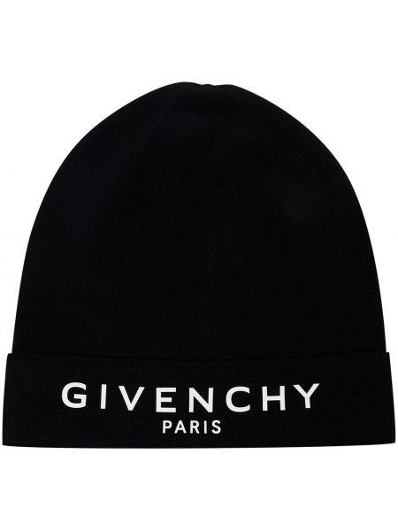 Czarny czapka beanie bawełniany z haftem Givenchy