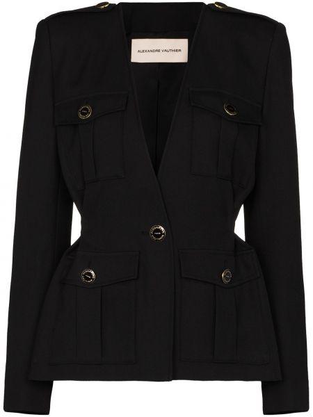 Шерстяной черный пиджак с накладными карманами Alexandre Vauthier
