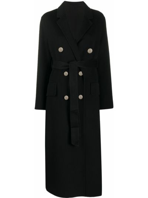 Черное шерстяное пальто узкого кроя на пуговицах Pinko