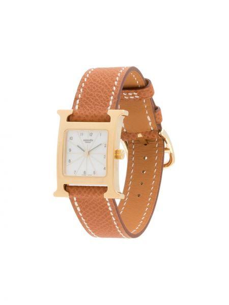 Brązowy złoty zegarek na skórzanym pasku kwarc Hermes