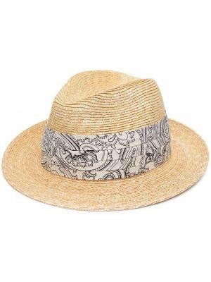 Плиссированные шелковые соломенные шляпа Etro