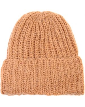 Бежевая шапка из мохера с отворотом эластичная Chapurin
