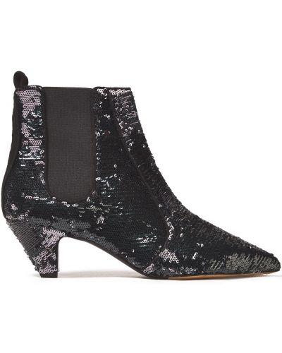 Czarne ankle boots skorzane z cekinami Tabitha Simmons