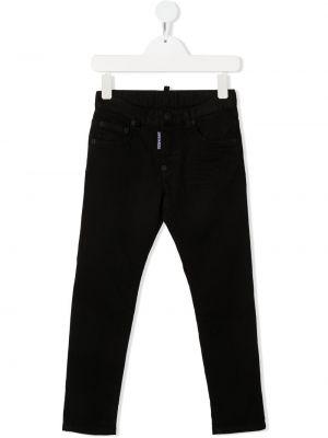 Кожаные черные джинсы-скинни на молнии Dsquared2 Kids