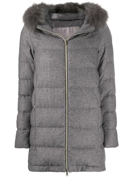 Кашемировая серая длинное пальто с капюшоном Herno