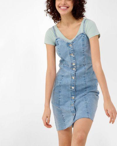 Niebieska sukienka jeansowa zapinane na guziki bawełniana Orsay