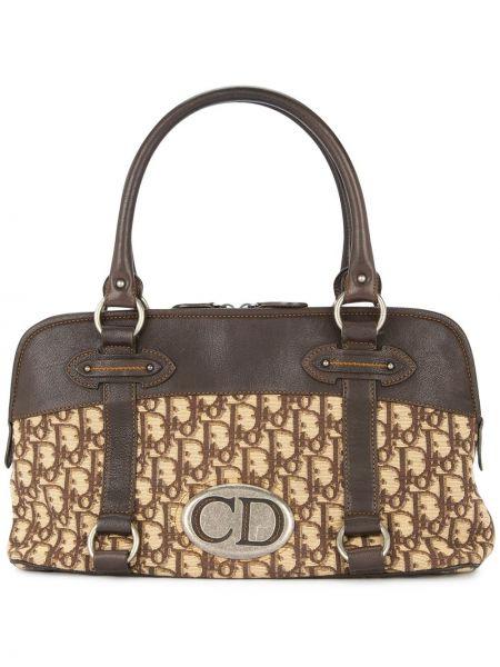 Коричневая кожаная сумка из канваса круглая на молнии Christian Dior