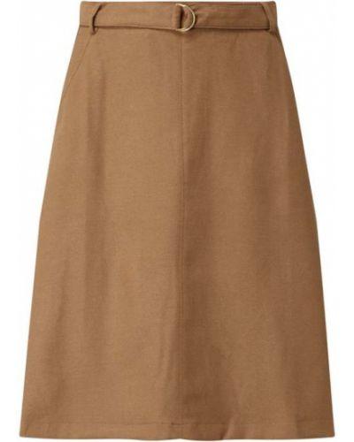 Brązowa spódnica rozkloszowana z paskiem z wiskozy Part Two