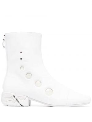 Białe ankle boots skorzane na obcasie Raf Simons