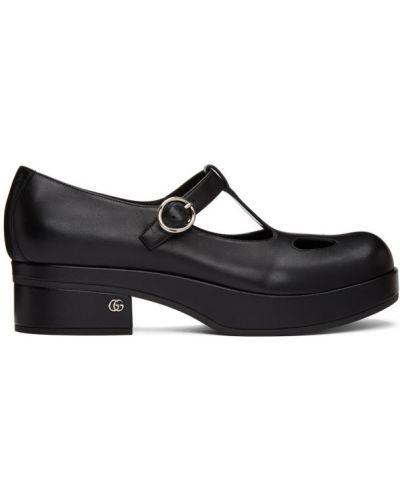 Czarny loafers z klamrą na pięcie z prawdziwej skóry Gucci