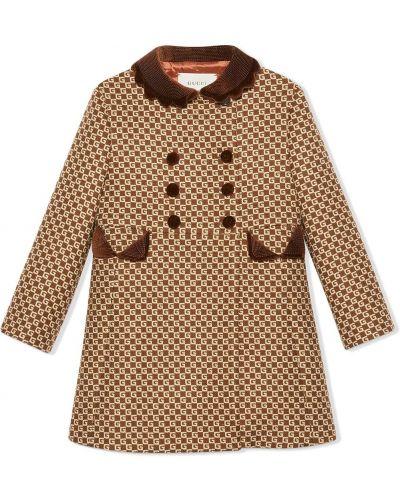 Коричневое шерстяное длинное пальто двубортное Gucci Kids