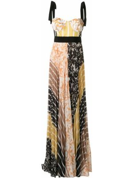 Желтое расклешенное платье макси без рукавов с вырезом Silvia Tcherassi