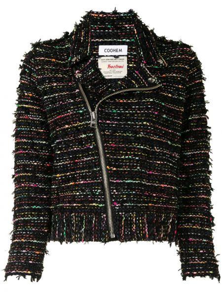 Черная нейлоновая куртка на молнии байкерская Coohem