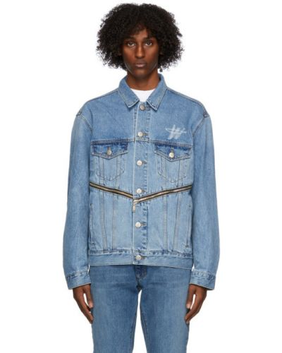 Белая джинсовая куртка на пуговицах с манжетами стрейч We11done