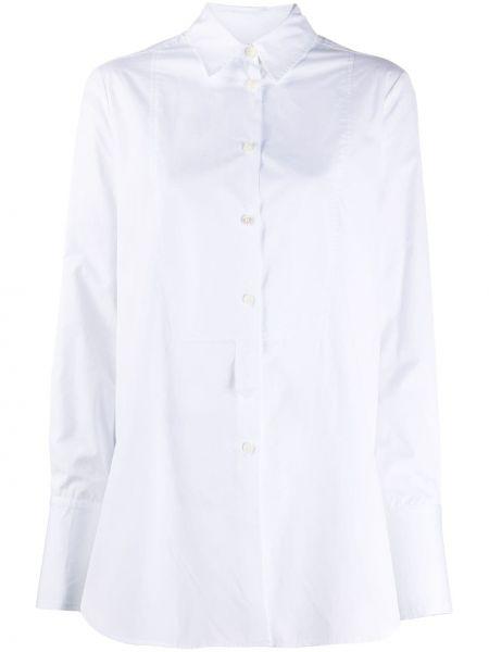 Хлопковая белая классическая рубашка с воротником с длинными рукавами Alberto Biani
